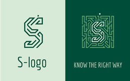 Print S letter maze. Creative logo for corporate identity of company: letter S. The logo symbolizes labyrinth, choice of right path, solutions. Suitable for Stock Photo