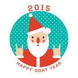 Print with Santa claus hand rock horn gesture. Funny christmas poster 2015. Print with Santa claus hand rock horn gesture royalty free illustration