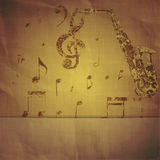 Print saxophone and musical notes Stock Image