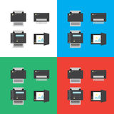 Print, scanner, fax and shredder flat icons or illustrations Royalty Free Stock Images