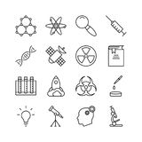Print. Science icon set. Collection of technology thin line icons. 16 high quality outline logo of lab on white background. Pack of symbols for design website Stock Photography
