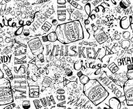 Print, seamless pattern with a bottle of whiskey, glasses and inscriptions. Design elements. Royalty Free Stock Photos