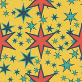Print seamless pattern geometric simple design with stars or stylized flowers Stock Photo