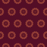 Print Seamless Pattern. Mandala Flowers with cherry background. Royalty Free Stock Photo