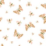 Seamless pattern with moths and night butterfly on the white background. Beautiful romantic print. Light fabric design. stock photo