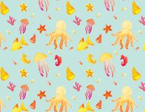 Seamless watercolor ocean pattern with octopus and sealife stock illustration