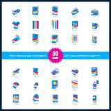 Print service icon set. Stationery, Gift and Corporate identity Royalty Free Stock Images