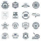 Print service logo icons set, simple style. Print service logo icons set. Simple illustration of 16 print service logo vector icons for web Royalty Free Stock Photos