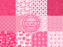 Print. Set cute seamless pattern Style girls. Vector backgrounds square pink collection Stock Image