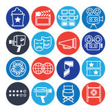 Print. Set of decorative icons with cinema symbols and signs Royalty Free Stock Images