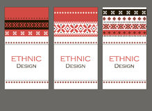 Print Set of ethnic banners. Stylish geometric backgrounds. Templates for design with Slavic ornaments. Vector illustration Royalty Free Stock Photo