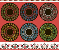 Print Set of ethnic round ornament Stock Photography