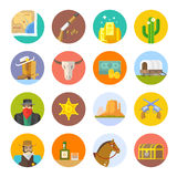 Print. Set of flat icons on the theme of life in the old West. Cowboys. Life in the wild West. The Development Of America Stock Photo