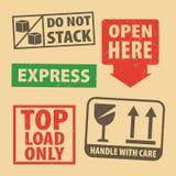 Set of fragile sticker Top Load Only and case icon packaging symbols sign, fragile  and Express rubber stamp on cardboard backgrou. Nd, vector illustration. Use vector illustration