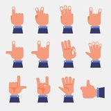Print. Set of hands in different gestures emotions and signs on white background isolated vector illustration Royalty Free Stock Photos