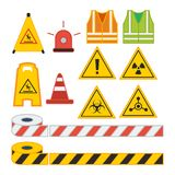 Set of vector illustration caution sign for safety equipment. Vest rotary lamp cone and line flat design style vector illustration