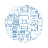 Print shop circle Royalty Free Stock Photo