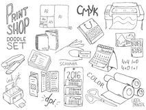 Print shop doodle set Royalty Free Stock Photo