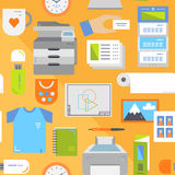 Print shop flat seamless pattern Stock Photos