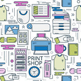 Print shop linear seamless colored Royalty Free Stock Photography