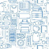 Print shop linear seamless pattern Stock Photography