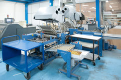 Print shop (press printing) - Finishing line Stock Photos