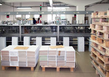 Print shop (press printing) - Finishing line Stock Image