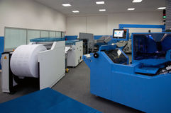 Print shop (press printing) - Finishing line Stock Photography