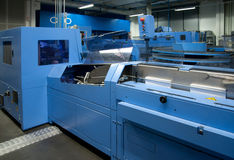 Print shop (press printing) - Finishing line Stock Images