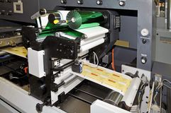 Print shop: UV flexo press printing. UV flexo press for printing label. Flexography (also called surface printing), often abbreviated to flexo, is a method of royalty free stock images
