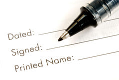 Print and sign the name Royalty Free Stock Photography