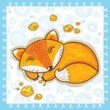 Print with sleeping cartoon fox. Vector Stock Image