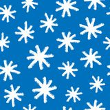 Print with snowflakes drawn by hand with rough brush. Winter seamless pattern. vector illustration
