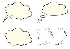 Speech, think, thought bubbles, like clouds vector illustration