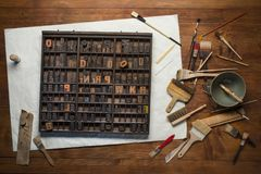 Print still life with lettering Royalty Free Stock Photo