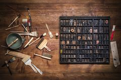 Print still life with lettering Stock Photos