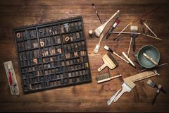 Print still life with lettering Stock Image