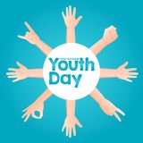 Stock vector international youth day,12 August. circle hands up on blue background stock illustration