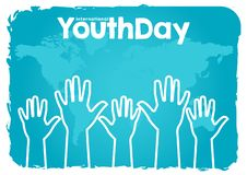 Stock vector international youth day,12 August. hands up on world map blue background vector illustration