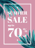 Print Summer sale up tu 70 per cent off. Web-banner or poster wi Stock Photography