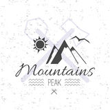 Print on t-shirt design theme of the mountains peak and hike Stock Photography