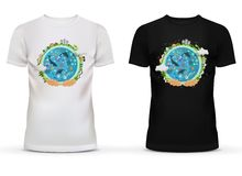Print on t-shirt with hands holding earth Stock Images