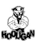 Print on T-shirt `hooligan` with a  pantera image. Vector illustration Royalty Free Stock Images
