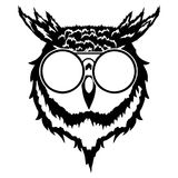 Print on t-shirt `Isolated illustration of a head of an owl`. Isolated illustration of a head of an owl stock illustration