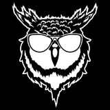 Print on t-shirt `Vector illustration of a head of an owl`. Vector illustration of a head of an owl Stock Image