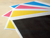 Print test. Colour printer print test of black cyan magenta yellow tones Stock Image