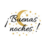 Print with text Good night in spanish language. Wishing banner with moon and stars in gold colors Royalty Free Stock Photos