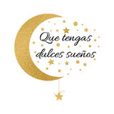 Print with text Have a sweet dreams in spanish language. Wishing banner with moon and stars in gold colors Stock Photo
