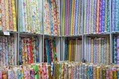 Print textile fabric rolls shop factory stock image