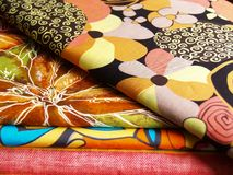 Print textiles. Colored print textiles for sewing Stock Photo